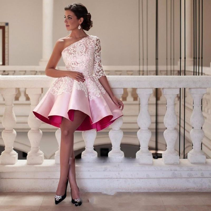 Boho Ball Gown Short Evening Dress .one Sleeves Pink Prom Dress ...
