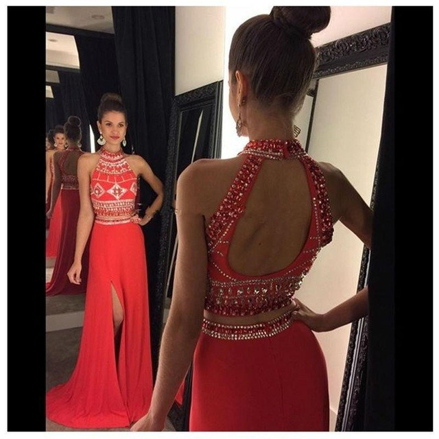 7f7a766fe53 fashion luxury red two piece prom dresses high neck beaded 2 piece prom  dress open back evening dress beaded satin women pageant gown formal party  dress