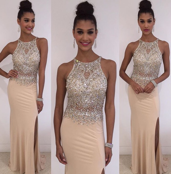 Fashion Prom Dresses 2 Piece Prom Dress Appliques Lace Beaded