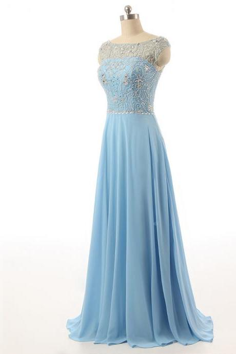 customs made evening dresses luxury evening dress sky blue chiffon prom dress beading formal gown elegant long evening dress for wedding guest party