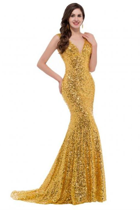 bling bling gold prom dresses long prom dress mermaid prom gown v neck sequin evening dress slim pageant dress foraml party dress wedding guest dress wedding party gown