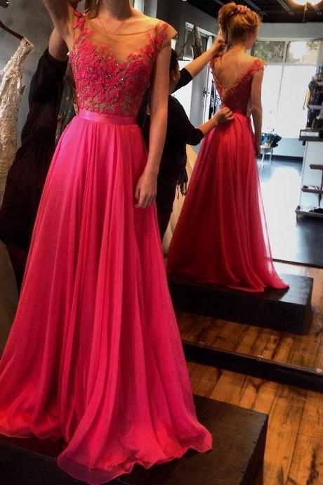 elegant red long prom dresses appliques lace prom dresses scoop prom gowns chiffon evening dress Bridesmaid Dresses foraml gown for wedding guest party