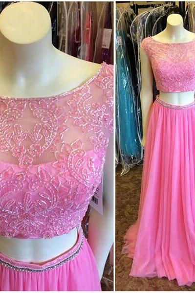 luxury elegant prom dresses 2016 o neck pink chiffonevening dress beaded women pagenat gowns formal party dress