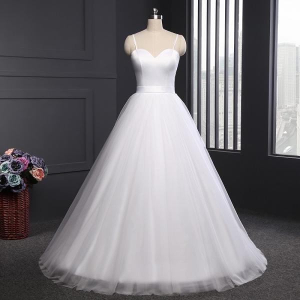 Sweetheart Spaghetti Straps A-line Wedding Dress