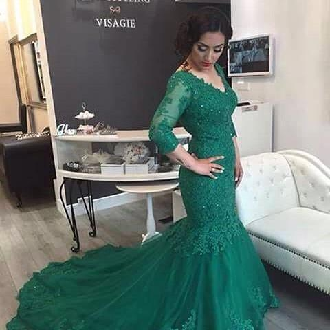 Green Evening Dress, Lace Evening Dress, Mermaid Evening Dress, Long Evening Dress, Backless Evening Dress, Chapel Train Wedding Dress, Gorgeous Evening Dress